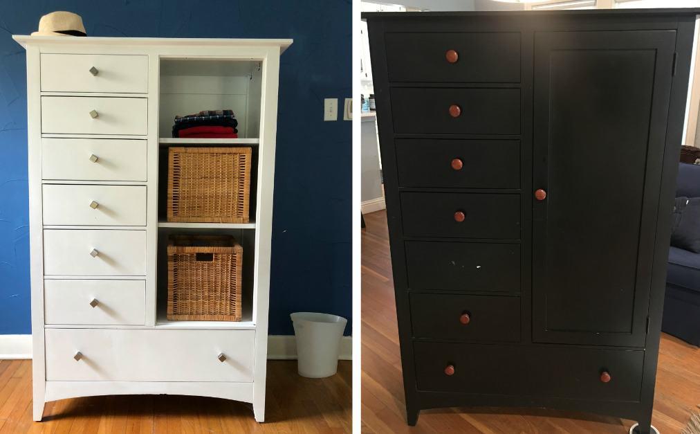 Black Dresser Wardrobe Makeover, How To Paint Over Black Wood Furniture