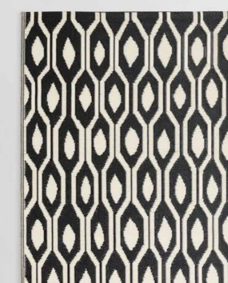 black & cream outdoor rug