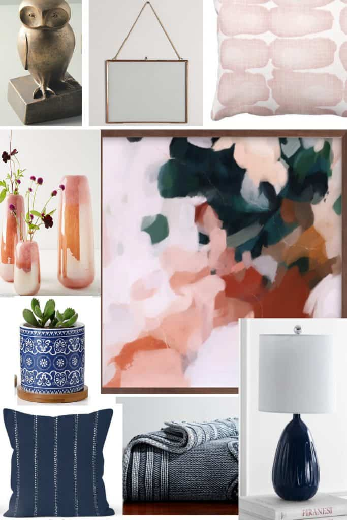 Blue pink and gold color palette
