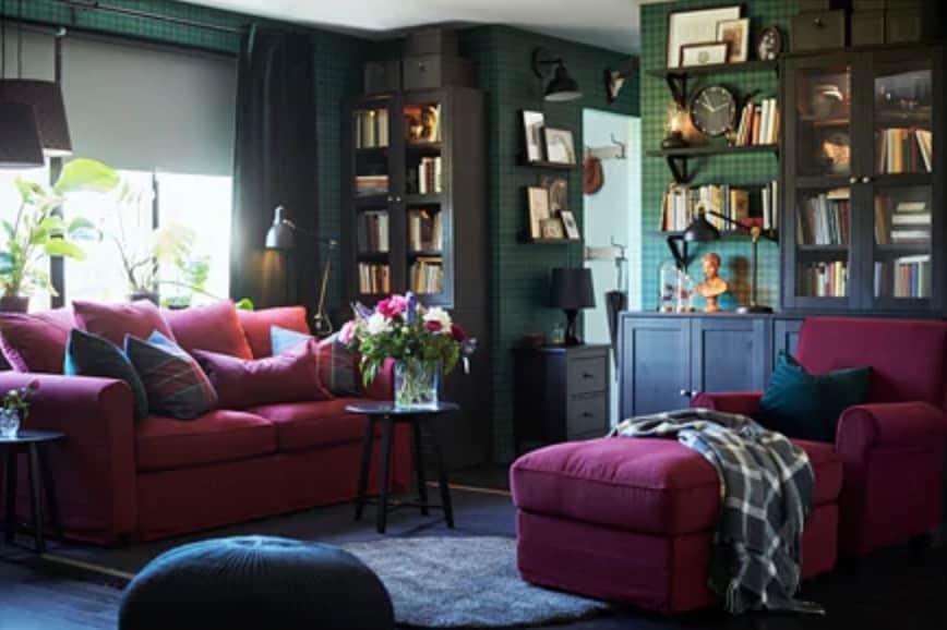 Ikea's deep red sofa