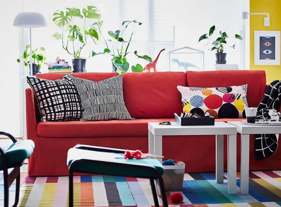 Ikea's bright red sofa