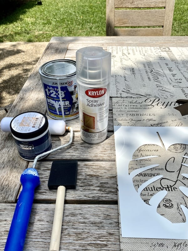 Supplies for DIY stencil painting