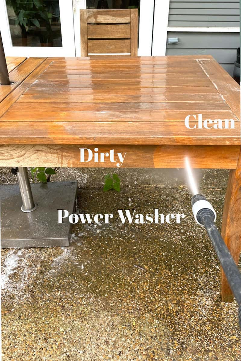 power washing teak furniture