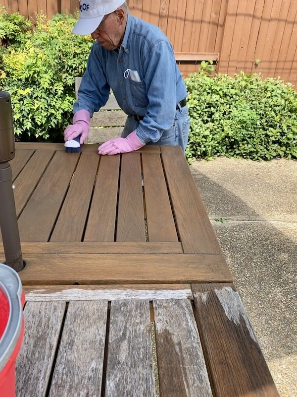 First step in restoring teak furniture