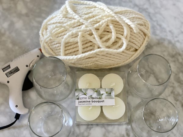 supplies for wine glass candle