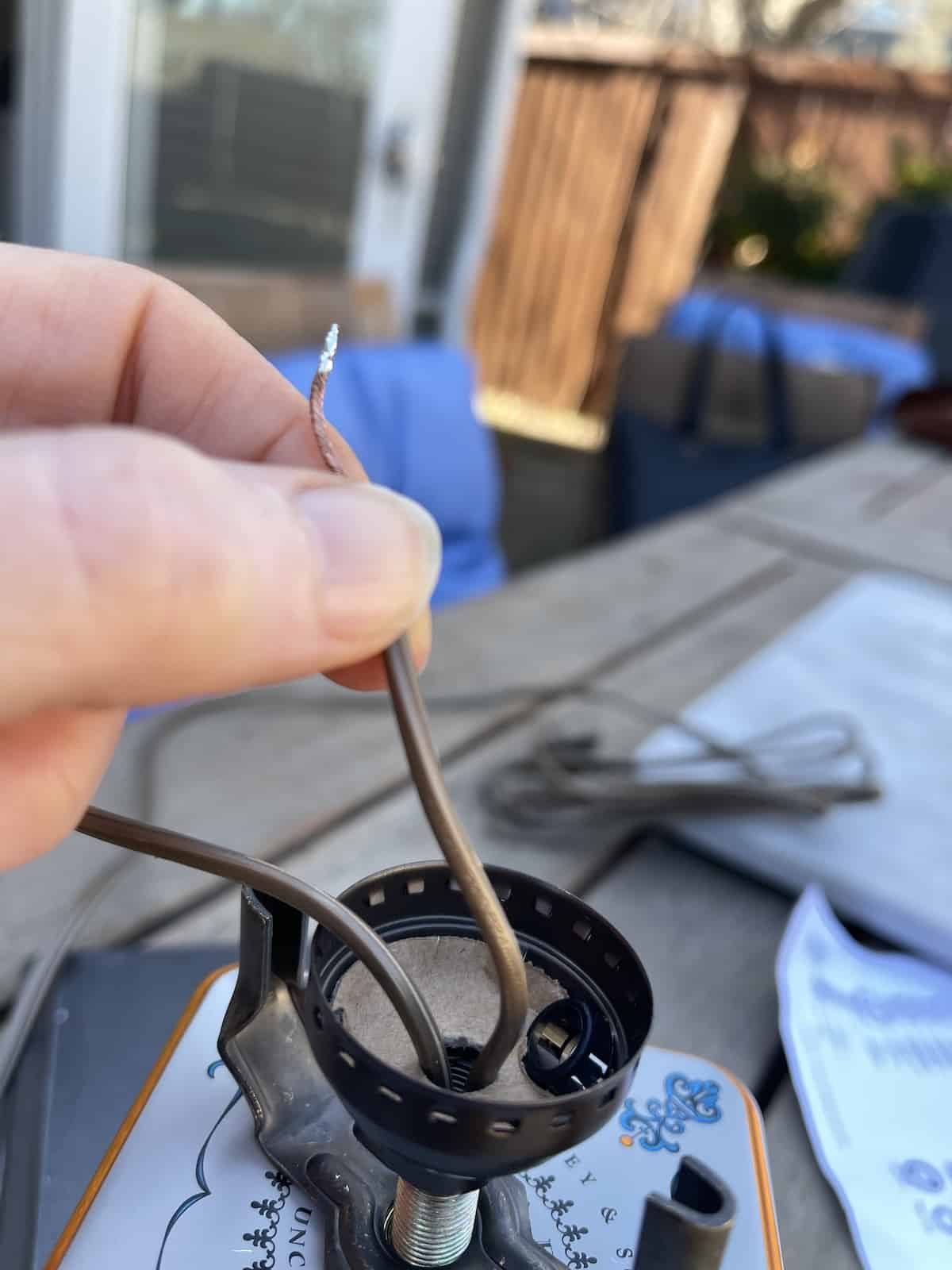 feed wires into the base