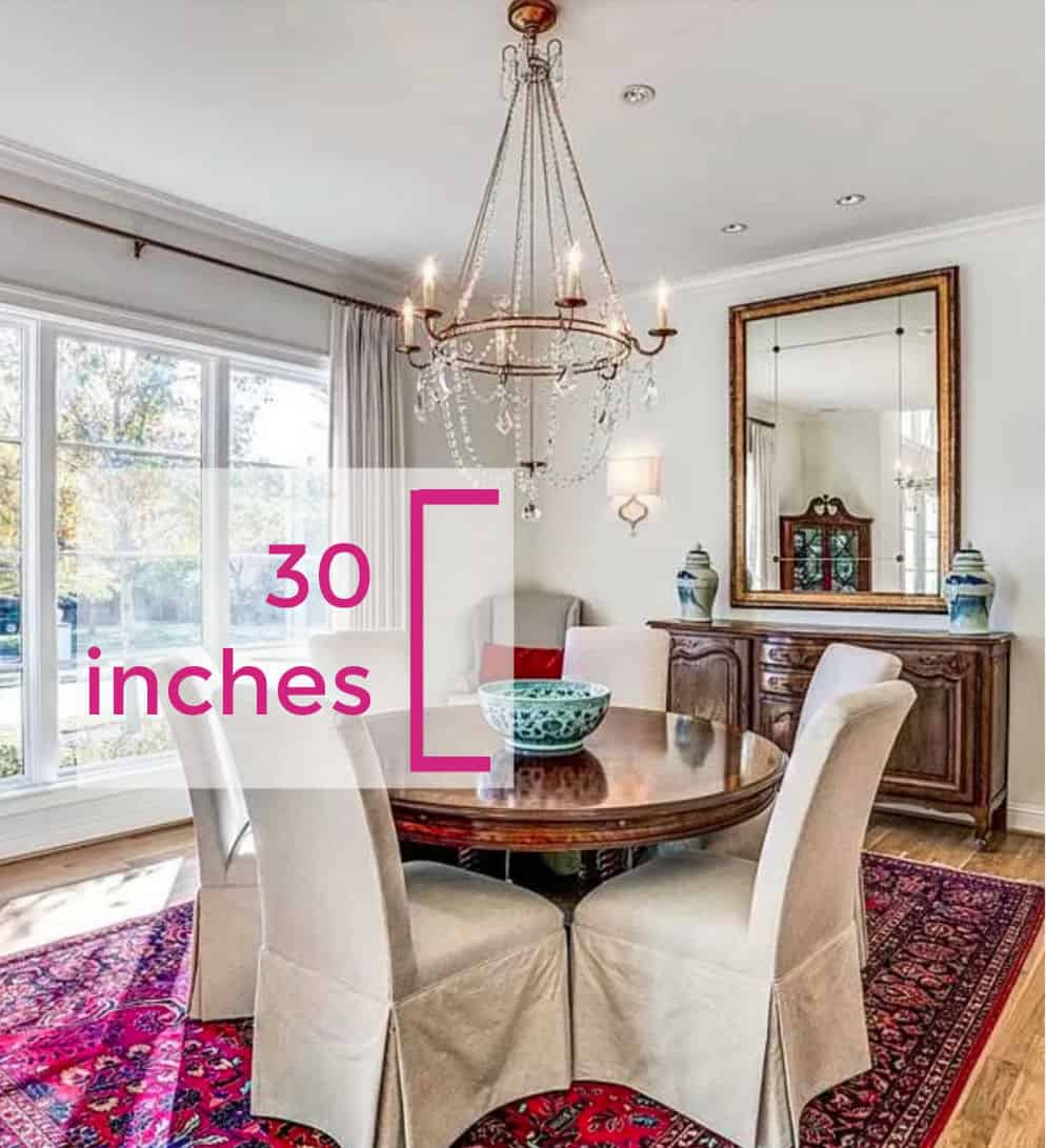 chandelier height over table
