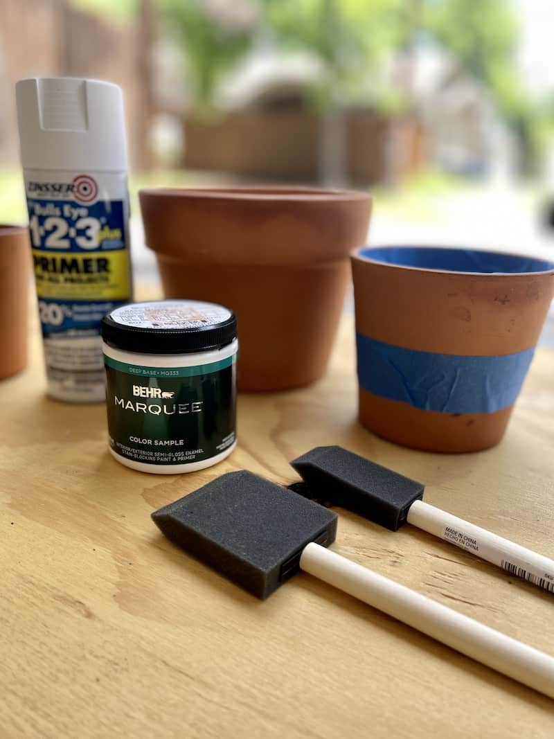 supplies for painting clay pots